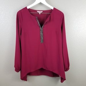 Juicy Couture Burgundy Semi Sheer Blouse Small